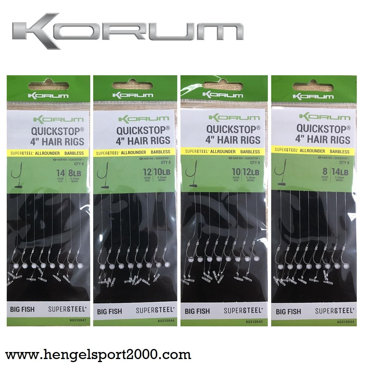 Korum Quickstop Hair Rigs Barbless